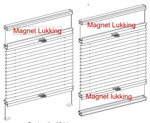 Plissegardin LUX, Up & Down spesial. Betjenes med håndtak. Flyvende med magnetlukking. Fra kr 344,00