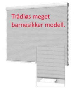 Plissegardin TRÅDLØS CL Lux. LYSTETT dobbel tekstil.