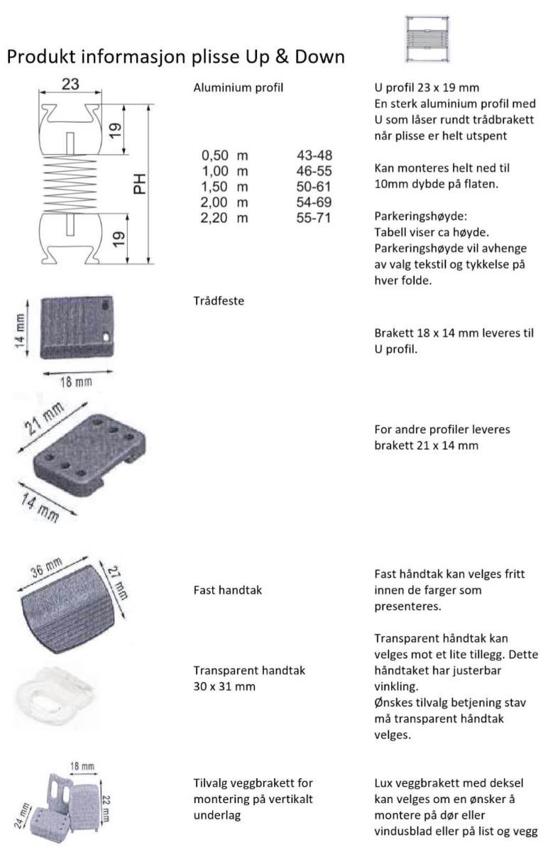 Plisse Up&Down Teknisk info